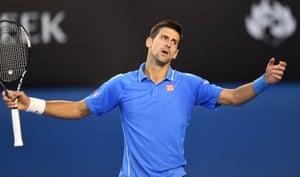 Djokovic of Serbia reacts.