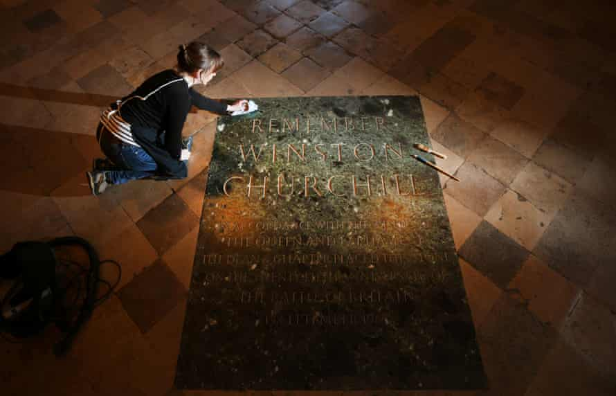 Winston Churchill's memorial stone is cleaned in Westminster Abbey this week