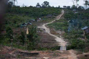 A farmers settlement within Harapan Rainforest in Sumatra, Indonesia. Harapan is owned and managed by a consortium of bird conservation groups led by the RSPB. The project aims to restore an area of degraded forest close to the size of London.