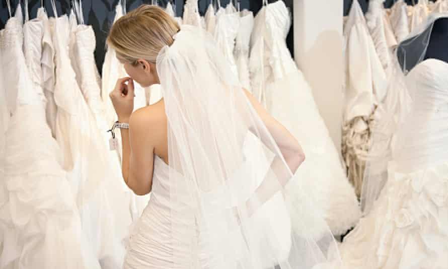 Woman choosing wedding dress