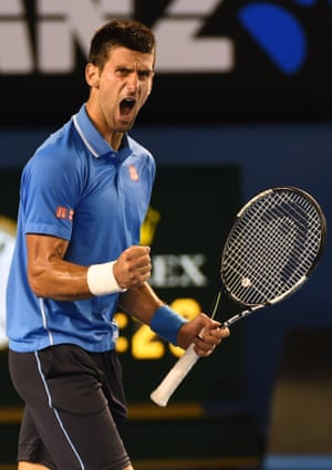 Novak Djokovic celebrates.
