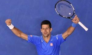 Serbia's Novak Djokovic celebrates after victory.