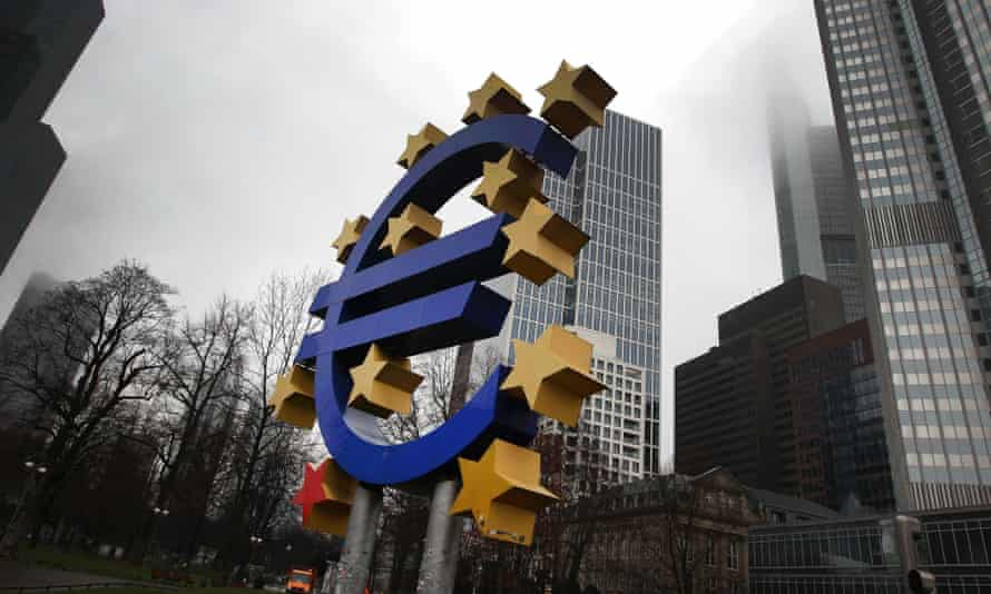 The euro sign in front of the European Central Bank in Frankfurt am Main,