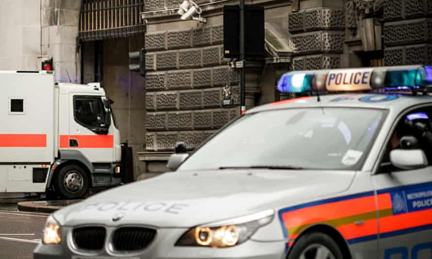 Police vehicles outside the Old Bailey