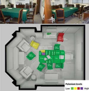 Metropolitan Police's 3D graphic showing polonium contamination on the green baize tablecloth in Grosvenor Square