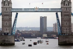 The Havengore, travels under Tower Bridge in London