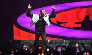 Drake performs on stage