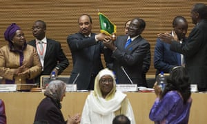 The Zimbabwean president Robert Mugabe has been sworn in as chairman of the African Union at a ceremony in Addis Ababa