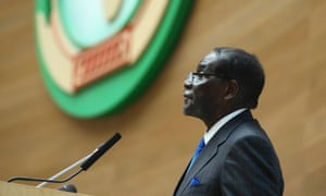 Robert Mugabe addresses heads of state at the opening ceremony of the African Union summit in Addis Ababa on 30 January, 2015.