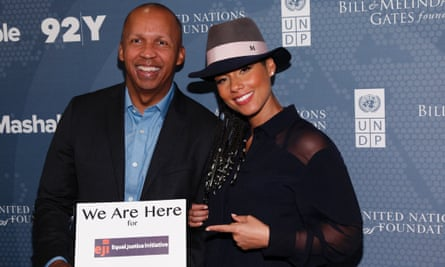 Bryan Stevenson pictured with Alicia Keys at a summit in New York last September.