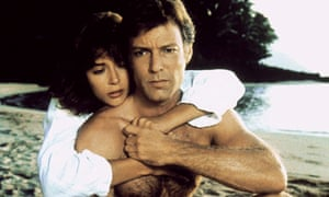 Rachel Ward and Richard Chamberlain in a passionate beach scene in the 1983 television adaptation of The Thorn Birds.