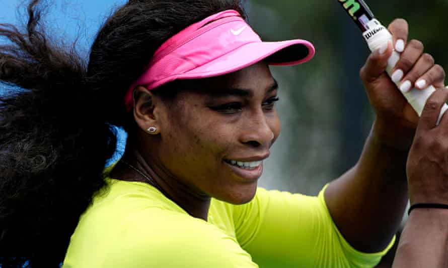 Serena Williams of the United States during a practice session for the Australian Open women's final