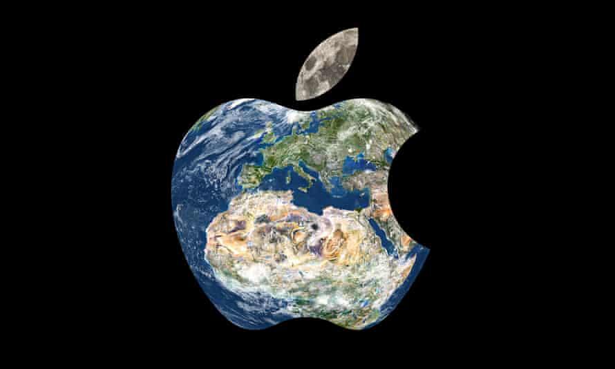 Globe morphed into the shape of an Applelogo