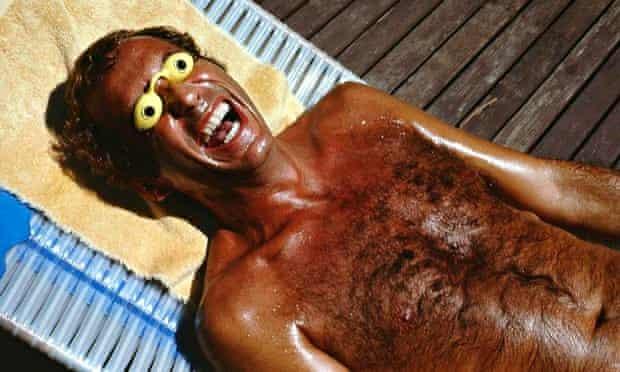 Roger Steffens's friend Richie Silverman, sunbathing in Los Angeles, 1979.