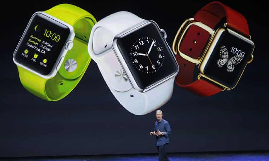 Tim Cook unveils the Apple Watch in California last year.