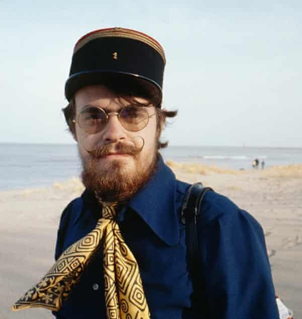 Roger Steffens wearing a French artilleryman's cap that belonged to John Steinbeck, Racine, Wisconsin, 1970.