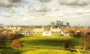The view from Greenwich Park takes in London's great modern and historical buildings.