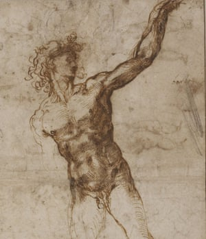 Michelangelo Buonarroti, detail from 'A nude young man, to front, looking to right, beckoning', 1503/4, pen and two shades of brown ink on paper.