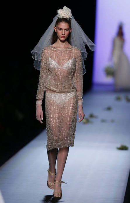 A bride at Jean Paul Gaultier's couture show on Wednesday. Not the desired underwear effect.