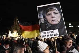 At the Pegida demonstration in Dresden.