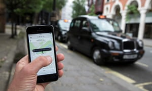 The Uber app allows users to hail private-hire cars from any location