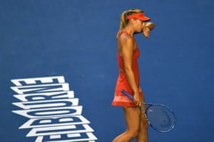 Maria Sharapova is struggling to hold her serve in the first set.