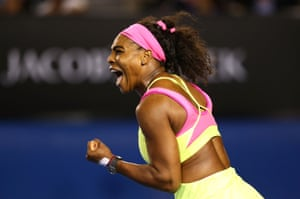 Serena Williams celebrates winning a point in the first set, which she takes 6-3