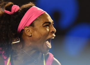 Serena Williams screams after winning a point against Sharapova.