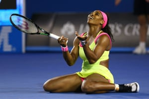 Serena Williams reacts to a point as he tries to finish off a fighting Sharapova in two sets.