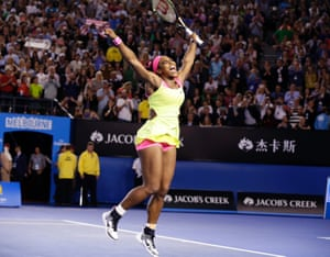 Serena Williams is jubilant after winning her sixth Australian Open title.