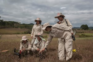 A team of female deminers from UXO Laos clearing a field in Man Som area, Xieng Khouang province.