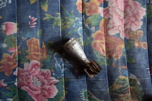 A component of a bomb found at Van Kham's house. Van Kham, 85, used to be a metal hunter for several years after the end of the war. When he and his family went back to Na Kuan at the end of the conflict, after having spent 7 years in a refugee camp, they found the area littered by mortars and cluster bombs.