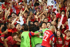 Drama at the ANZ Stadium as South Korea celebrate the injury time equaliser.