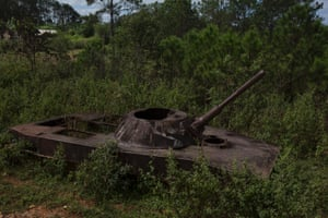 A wreck of a PT-76 Russian Tank in Phou Khout, along Route 7 in Xieng Khouang province. The tank was abandoned in 1964 and then bombed in 1969 by the American aviation.
