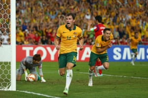 James Troisi celebrates his goal after great work from Tomi Juric.