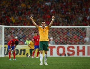 Tomi Juric celebrates at the final whistle.