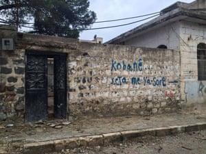 Graffiti that reads 'Kobani – our red line'