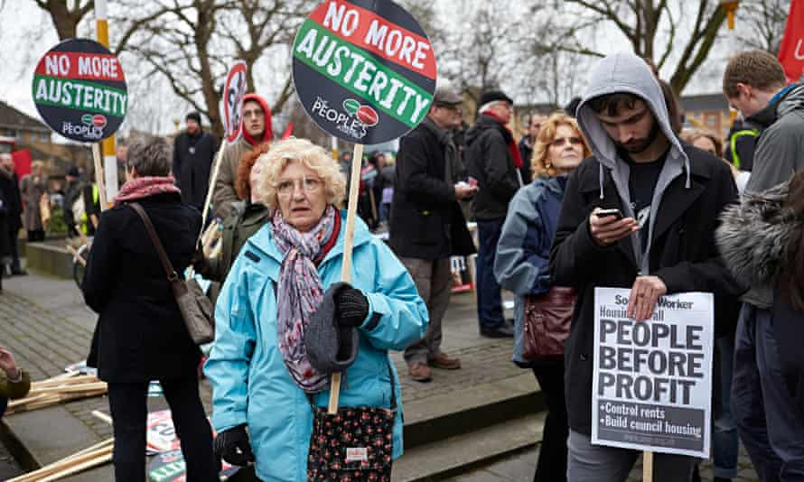 Annette May at the March for Homes demonstration near her flat in Kennington, London.