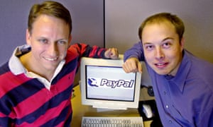 PayPal co-founders Peter Thiel, left, and Elon Musk in 2000.