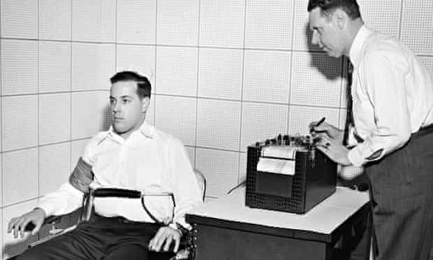 American inventor John Larson demonstrating a polygraph at Northwestern University, Evanston, Illino