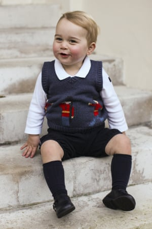 Prince George poses for a photograph at Kensington Palace, London