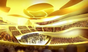A computer-generated image of inside the Philharmonie de Paris