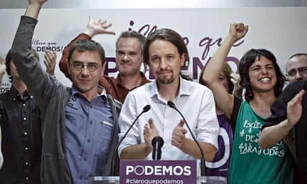 Podemos celebrate winning five seats in the 2014 European elections