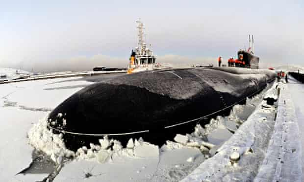 Russian nuclear-powered submarine at Murmansk naval base
