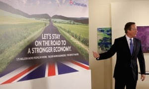 David Cameron launches the conservative party's first election campaign poster in Halifax