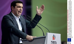 Syriza party leader Alexis Tsipras speaks at his party congress in Athens on Saturday.