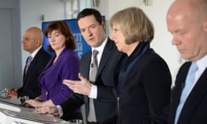 Conservative Party Election Press Conference with George Osborne, William Hague, Theresa May, Nicky Morgan and Sajid Javid in central London.