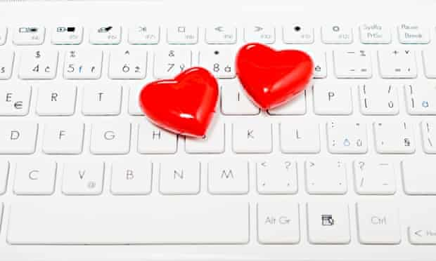 Two hearts on a computer keyboard