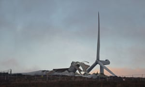 A general view of a wind turbine which collapsed at Screggagh wind farm, County Tyrone.
