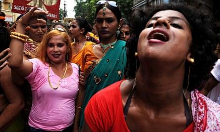 Indian hijras dance at a rally in Panduah, near Kolkata